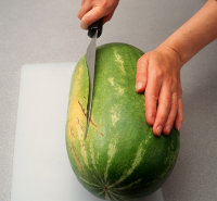 Cut off a thin piece of melon bottom.