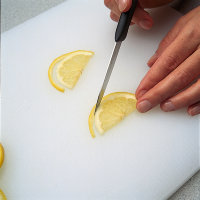 Leave a part of the peel attached to the fruit when garnishing.
