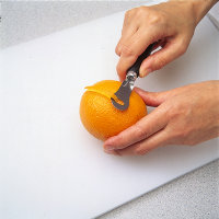 Cut a shallow groove into peel when garnishing.