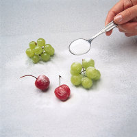 Sprinkle sugar over fruit when garnishing.