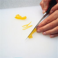 Cut peel into very thin strips when garnishing.