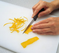 Cut into thin strips when making candied citrus peel garnish.