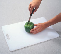 Cut top of pepper with a paring knife.