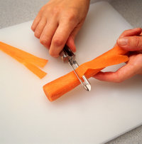 Cut paper-thin strips when making carrot curl garnishes.