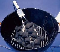 Use an electric starter to a light a fire for the grill.