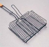 Hinged wire baskets help when grilling vegetables or grilling seafood.