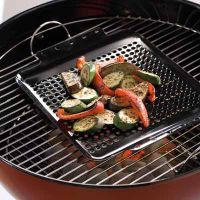 Grill toppers help keep small food like grilled vegetables from falling into the grill.