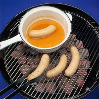 When grilling brats, poach the bratwursts in beer before browning on the grill.
