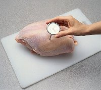 Make sure the meat thermometer does not touch the bone when inserted.