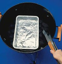 When grilling turkey, bank the charcoal to the side of the drip pan.