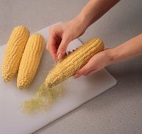 Whrn grilling corn, use a soft, dry brush to remove silk, but be gentle!