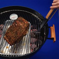 To grill boneless beef roast, use a foil drip pan and a heatproof meat thermometer.