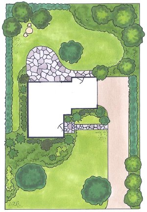 With a sketch pad, carefully plot the relationships between indoor and outdoor space in a landscape design picture.