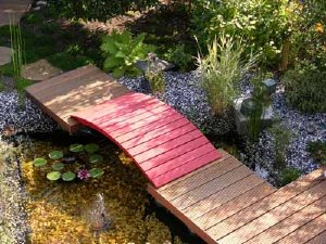 Water gardens attract attention in a landscape garden design.