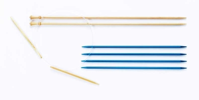 From left to right: circular needles; straight, single-point needles, double-pointed needles.