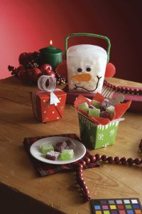 Here are examples of finished Holiday Treat boxes.