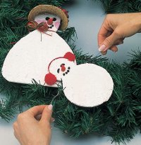 Use wire to connect the junior snowman to the wreath.