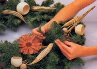 Use pine fronds to hold the garland in place.