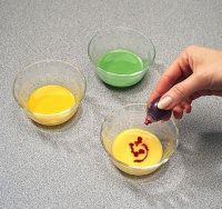 Dye the yolk with the desired food coloring.