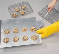 Let the cookies cool before removing them.