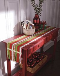 Ribbon Runner Christmas table accent is a fun Christmas craft.