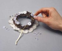 Arrange buttons around wreath.