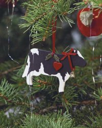 This is the finished Holiday Holstein ornament.