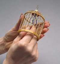 Glue the beaded string to the top of the cage.