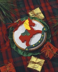 Here is an example of the Noel Rocking Horse ornament.