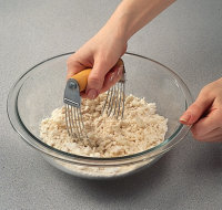 Use a pastry blender to cut in shortening when making single crust pie pastries.