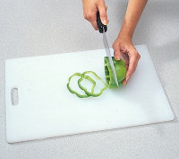 For rings, thinly slice down the length of the pepper.