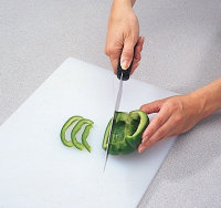 For strips, cut the pepper in half and then cut thin strips.