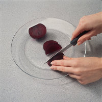 Cut the beets on a glass or nonporous surface to avoid staining.