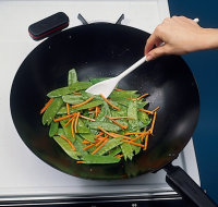 Keep the vegetables in constant motion as you cook them.