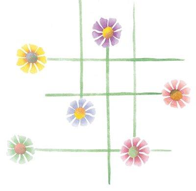 Overlapping stems make a unique floral plaid print.