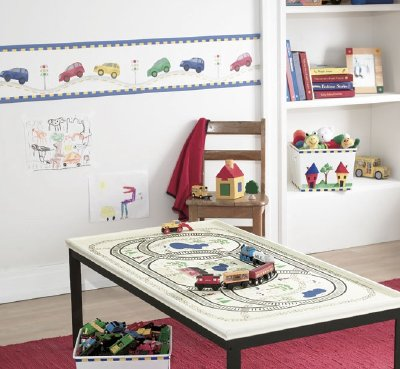 The Zoom Around the Room Border stencil adds colorful cars to the walls.
