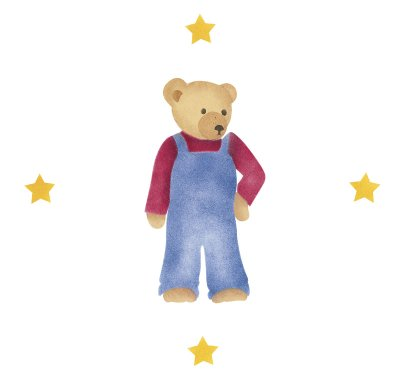 Colorful clothing makes the bears come to life.