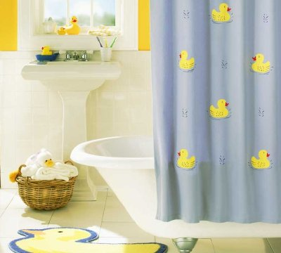 Stencil the Rubber Duckie Shower Curtain to add yellow ducks to your bathroom.