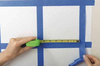 Use tape to carefully mark off 6-inch squares.