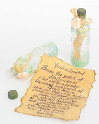 Create these messages-in-a-bottle for pirate party invitations.