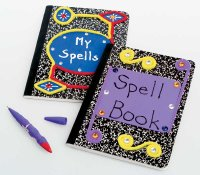 Take composition books and turn them into books of spells as an easy Halloween craft.