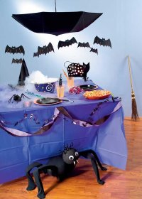 Dress the house with bats, cats, and spiders to create the magical environment for a Halloween party.