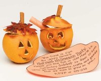 These pumpkin invitations are actually orange peels.
