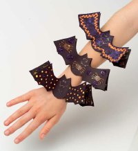 These bat bracelets are easy and fun Halloween crafts.