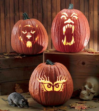 Howlin' Wolf, Glare Scare, and and Eye See You scary pumpkin designs.