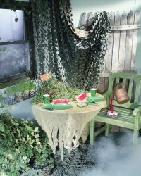 Decorate the party room like a haunted garden.
