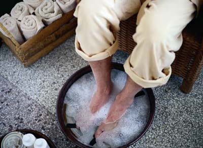 This aromatherapy foot bath will relieve aches and pains as well as improving your overall mood.