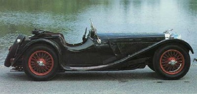 1936 Jaguar SS 100 side view