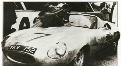 The Jaguar E2A protoype being readied for test runs at LeMans in 1960.