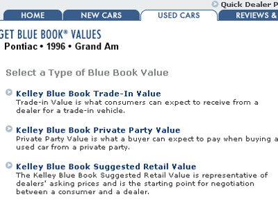 Retail Value Of Car >> Using Kelley Blue Book Online Value Type And Features